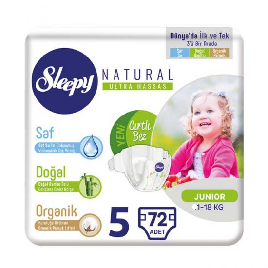 Sleepy Natural Bebek Bezi 5 Beden Junior 72 Adet